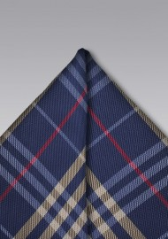 Tartan Plaid Hanky in Blue