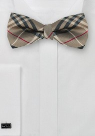 Tartan Plaid Bow Tie in Golden Tan