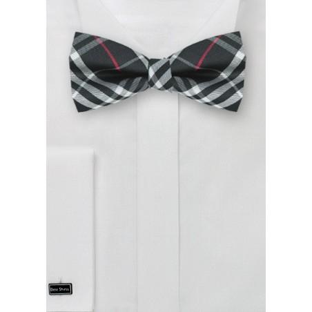 Tartan Bow tie in Black, Red, Silver
