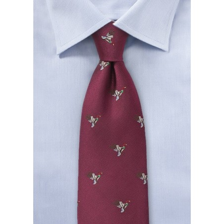 Burgundy Silk Tie with Flying Ducks