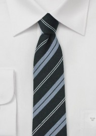 Black and Gray Skinny Wool Striped Tie