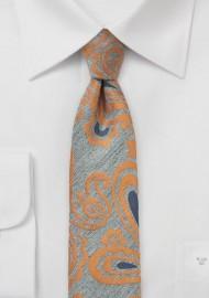 Gray and Orange Wool Skinny Paisley Tie