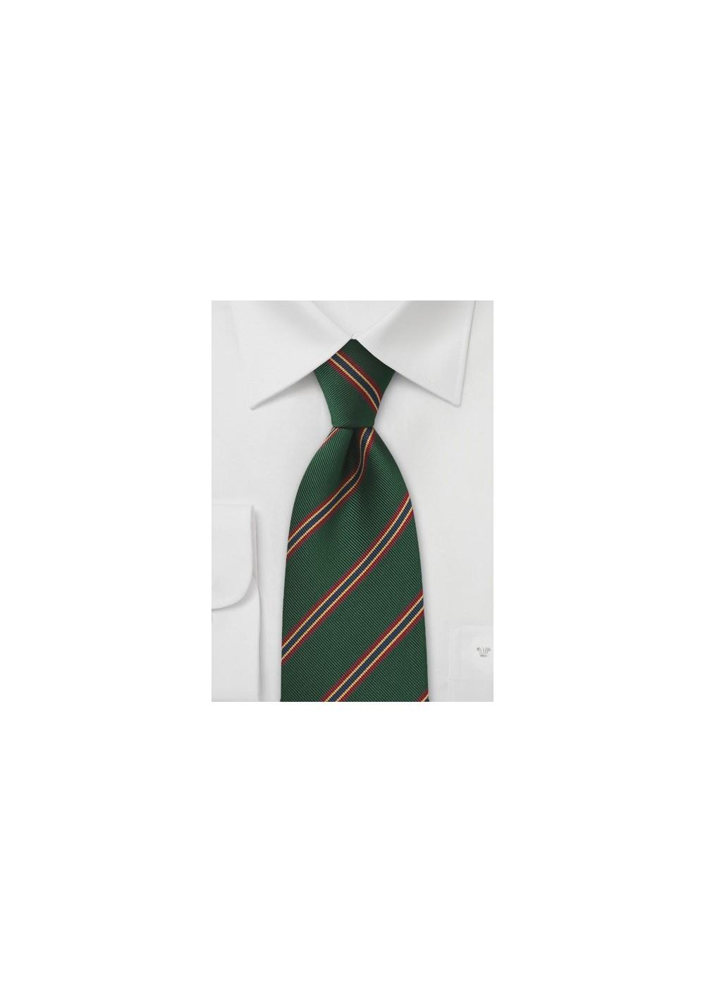 Kids Regimental Striped tie in Dark Green, Red, Gold, and Blue