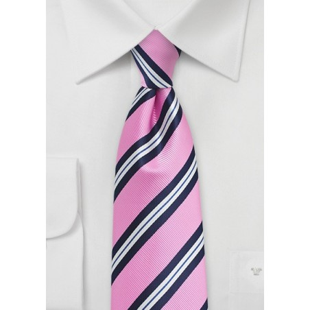 Pink and Blue Repp Stripe Kids Tie