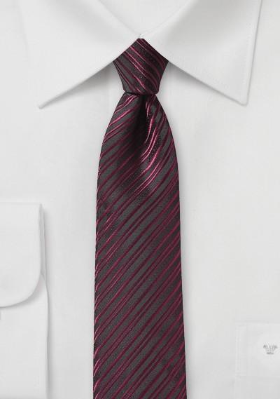 Burgundy Skinny Tie with Stripes