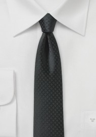Black Skinny Tie with Small Checks
