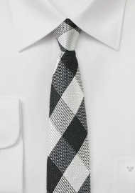 Large Gingham Check Skinny Tie