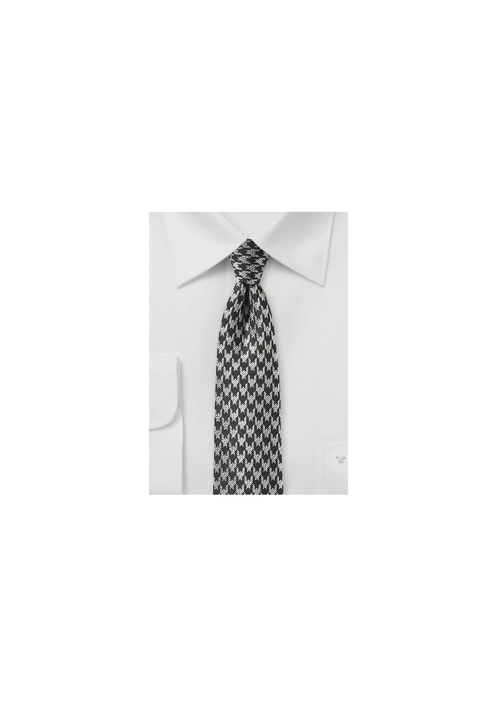 Charcoal and Silver Houndstooth Check Tie