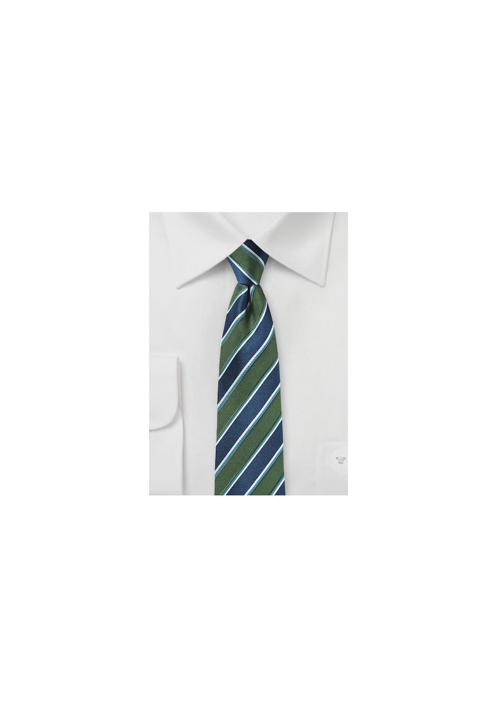 Awning Stripe Tie in Forest Green and Navy