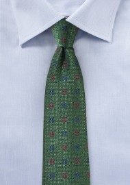 Dark Hunter Green Textured Mens Tie