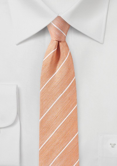 Tangerine Striped Linen Tie