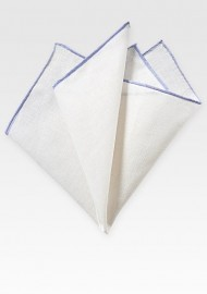 White Linen Hanky with Lavender Border