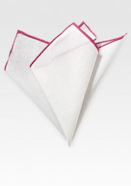 White and Hot Pink Linen Hanky