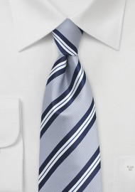 Elegant Silver Striped Kids Tie