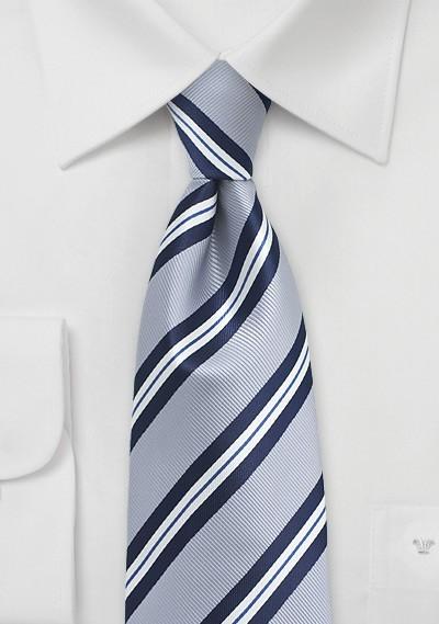 Elegant Silver Striped Kids Tie