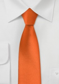 Skinny Mens Tie in Persimmon Orange
