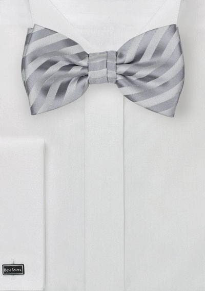 Silver Striped Bow Tie