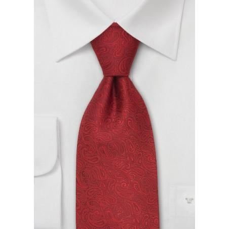 Kids Paisley Silk Tie in Deep Cherry Red