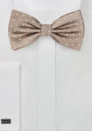 Elegant Silk Polka Dot Bow Tie in Fawn