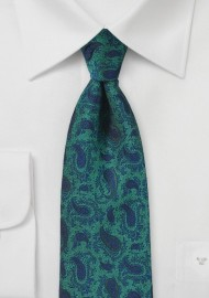 Bottle Green and Blue Paisley Tie