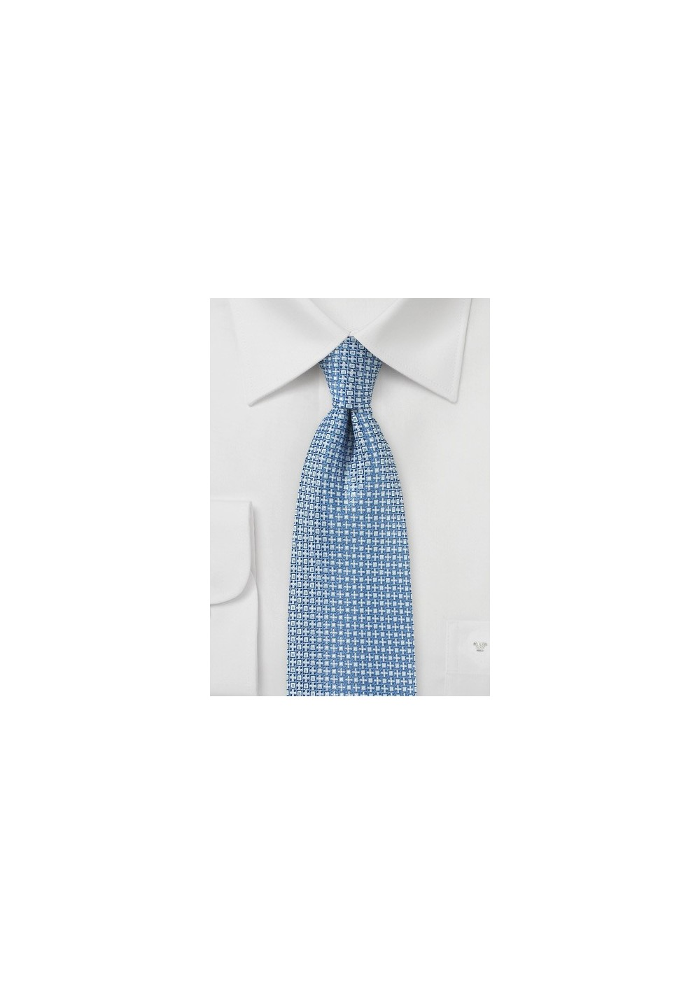 Light Blue and Silver Woven Mens Tie