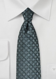 Diamond Check Tie in Steel Gray