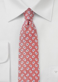 Summer Paisley Tie in Shell Pink