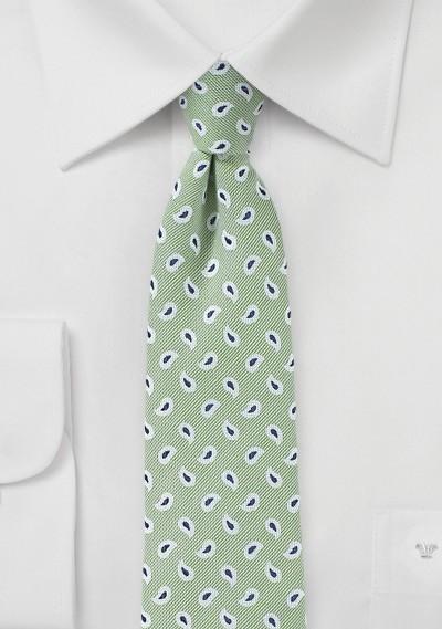 Light Sage Green Skinny Linen Tie