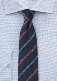 Textured Woven Tie in Navy