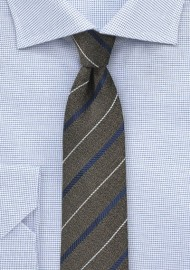 Dark Brown and Navy Striped Skinny Tie