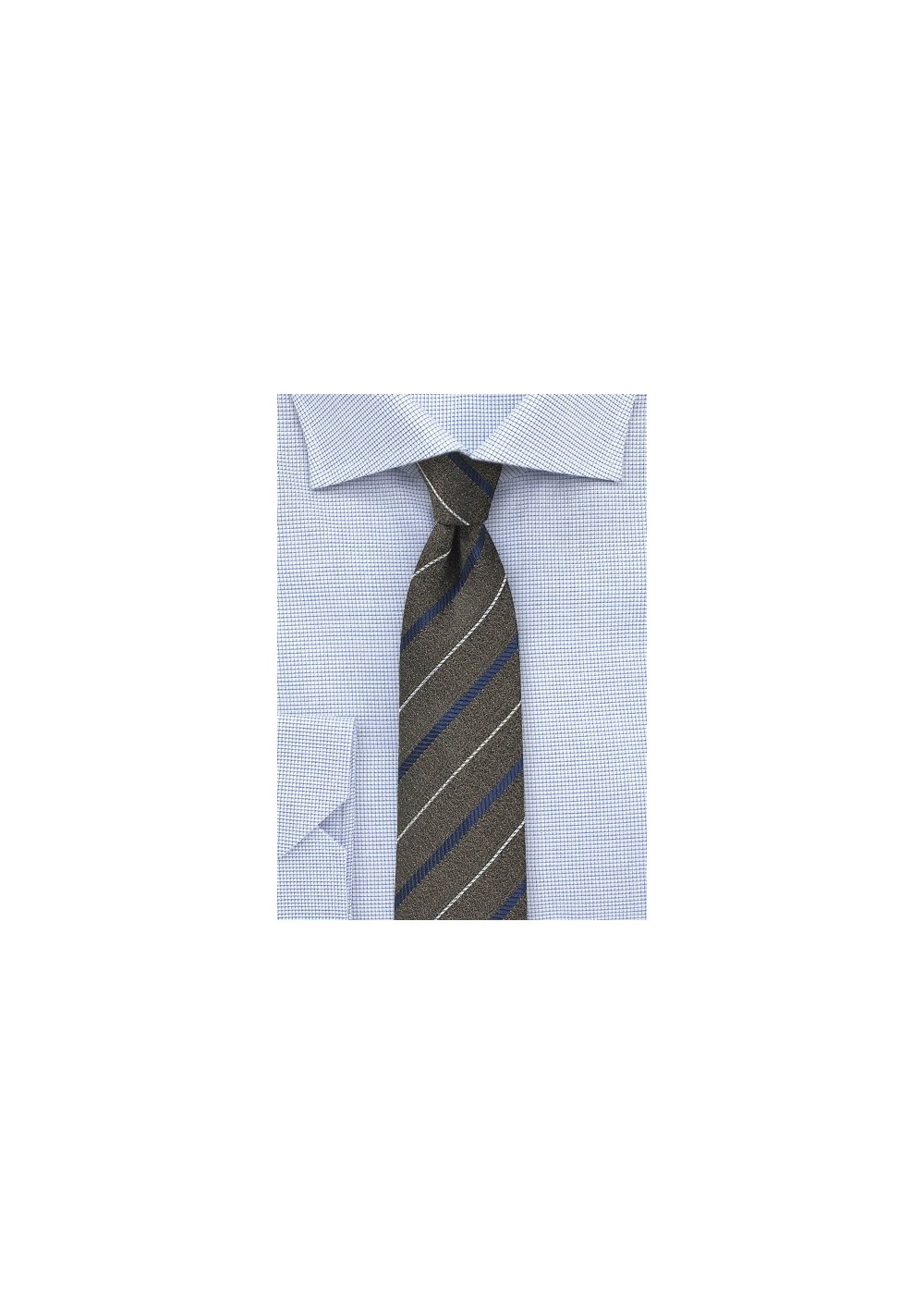 Dark Brown and Navy Striped Skinny Tie