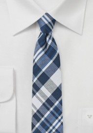 Cotton and Silk Blend Tie with Plaid