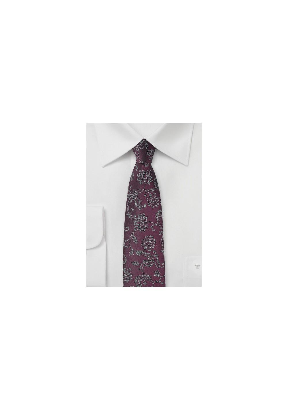 Plum Colored Floral Tie
