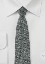 Herringbone Raw Silk Mens Tie in Gray