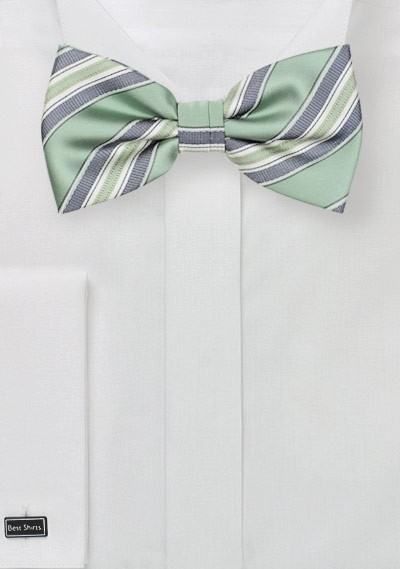 Striped Bow Tie in Clover Green