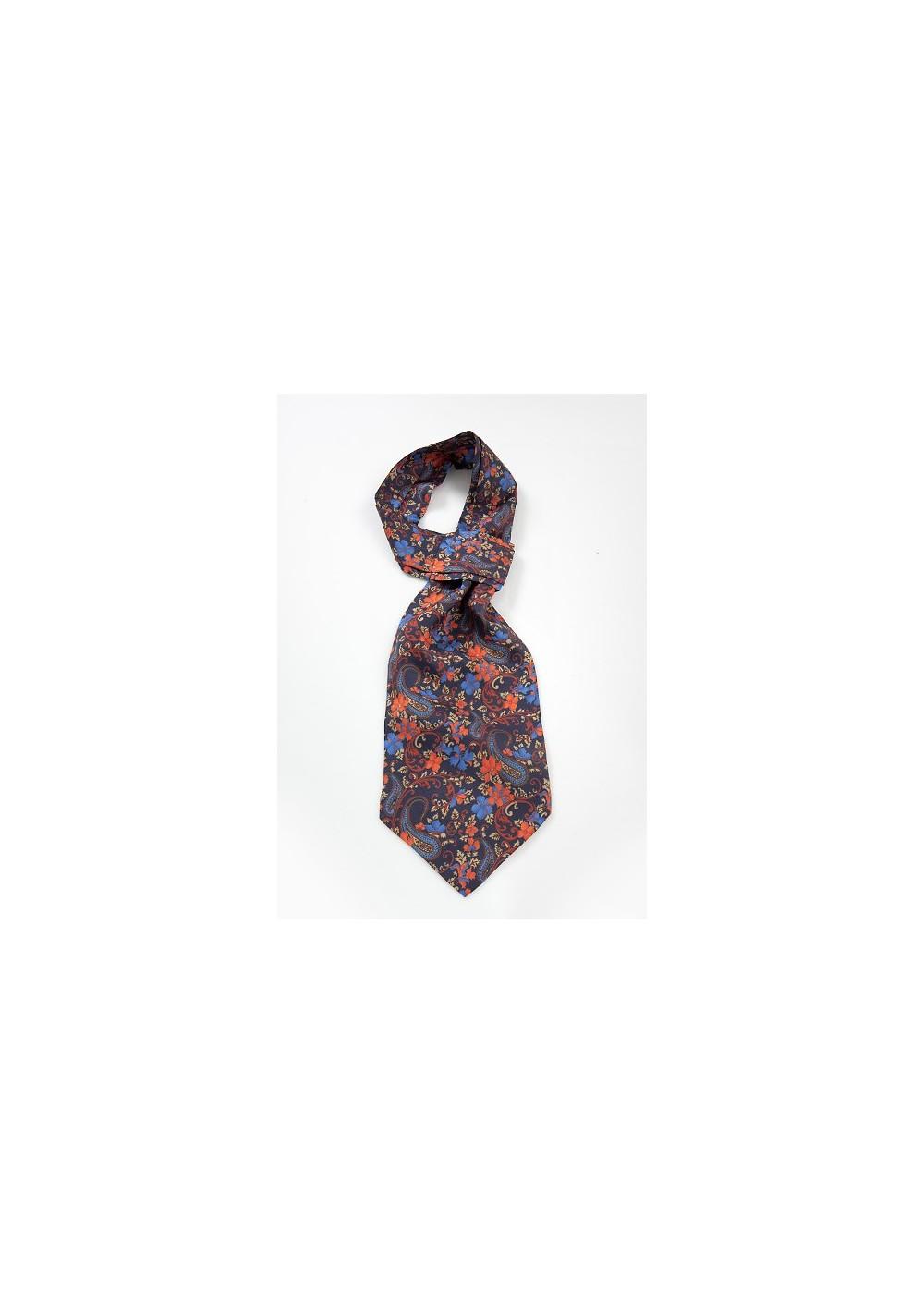 Designer Floral Paisley Ascot Tie