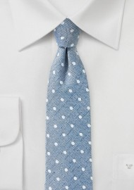 Washed Denim Polka Dot Tie