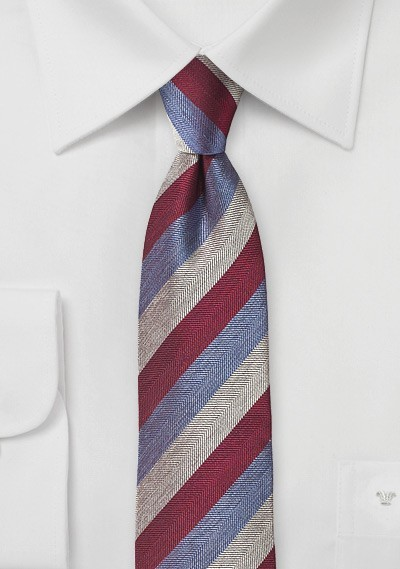 Striped Summer Tie in Burgundy and Violet
