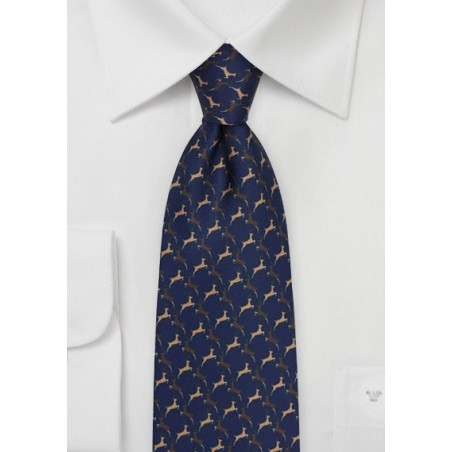 Reindeer Holiday Necktie in Navy Blue