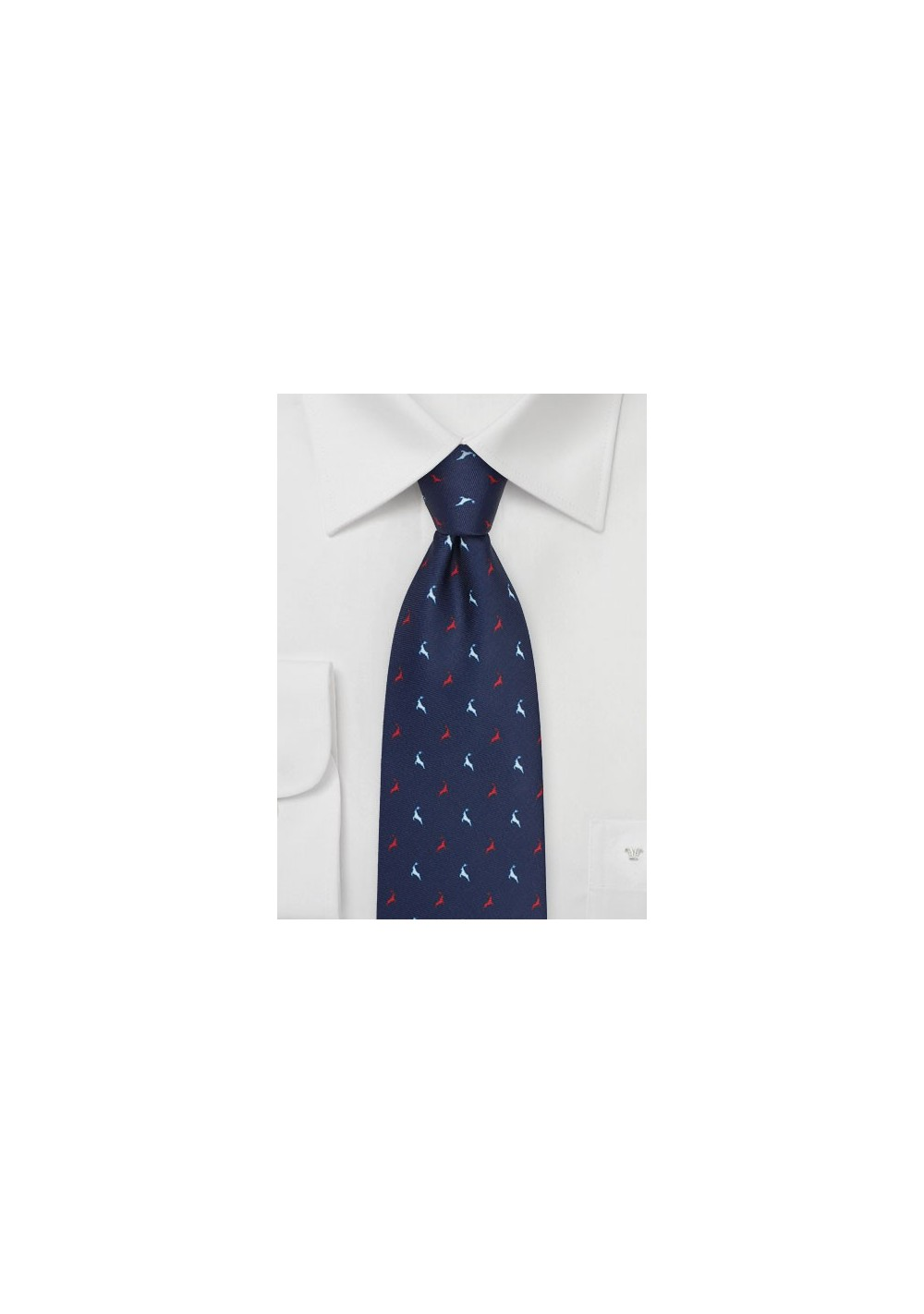 Reindeer Print Tie in Navy, Red, and White