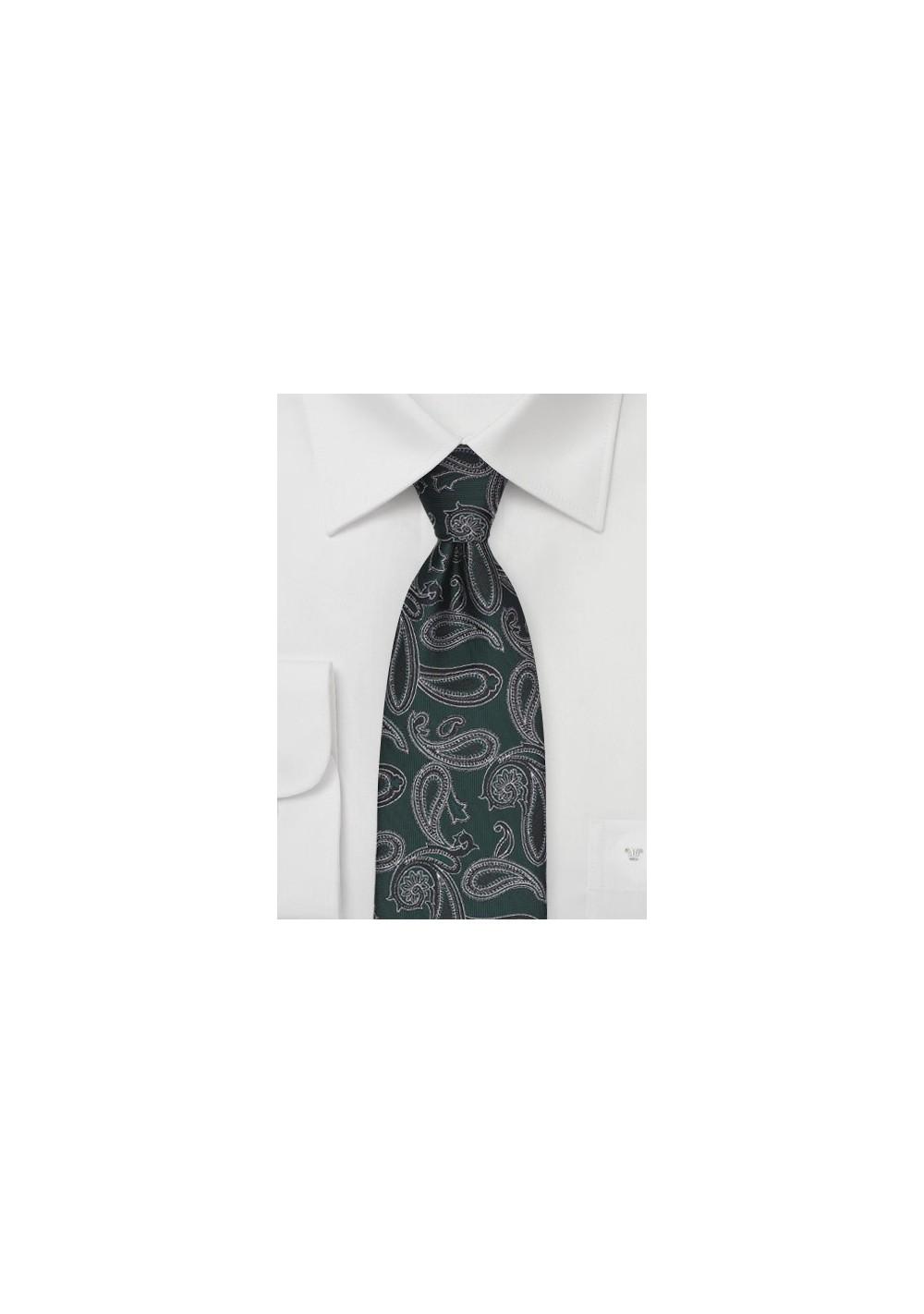 Hunter Green Paisley Tie