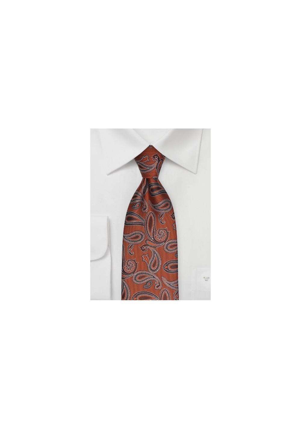 Copper Orange Paisley Tie