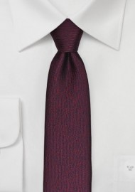 Textured Skinny Tie in Wine Red