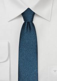 Skinny Textured Mens Tie in Oasis Blue