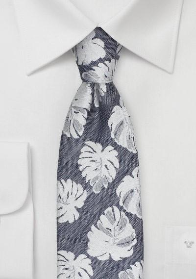 Tropical Leaf Pattern Tie in Gray