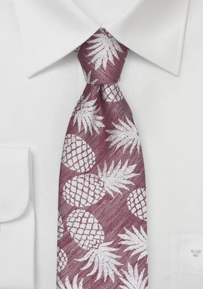 Pineapple Designer Tie in Faded Red