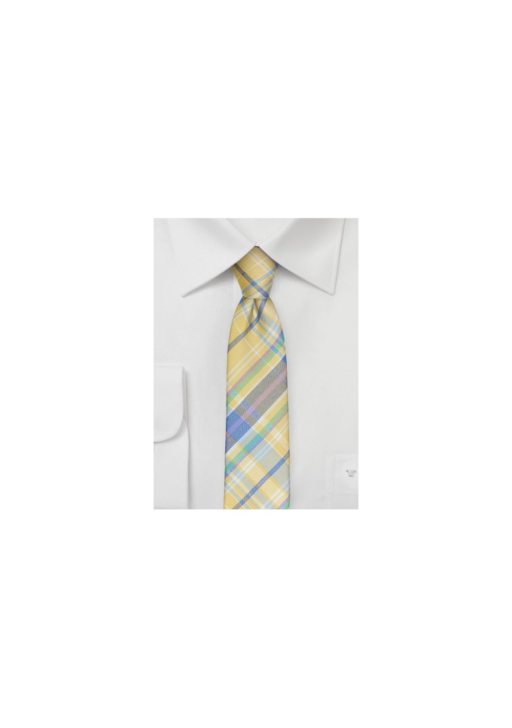 Skinny Madras Tie in Pastel Yellow