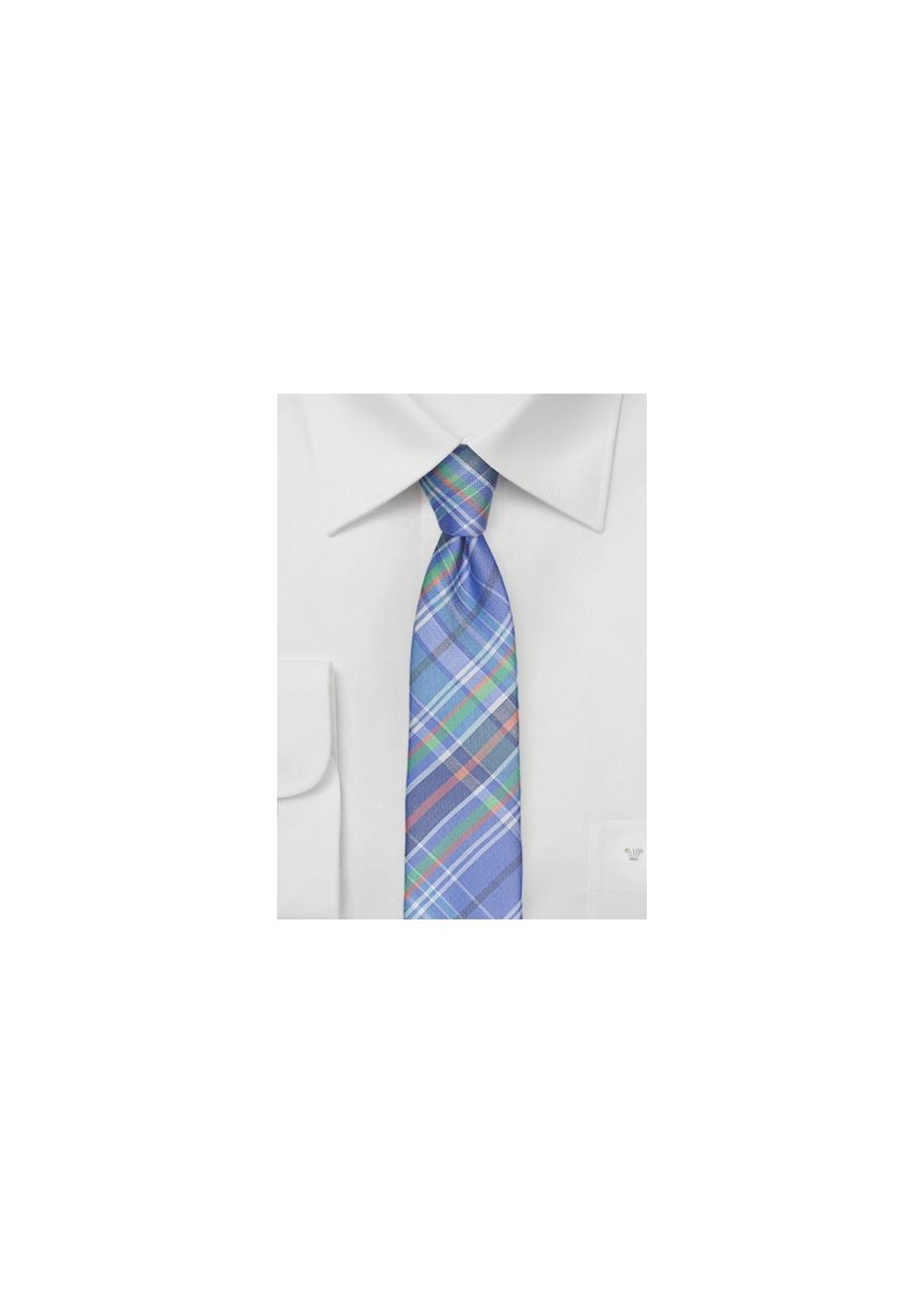 Madras Silk Tie in Sky Blue