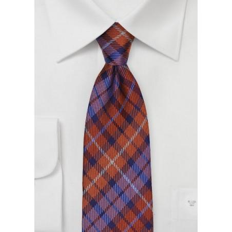 Orange and Purple Tartan Plaid Tie