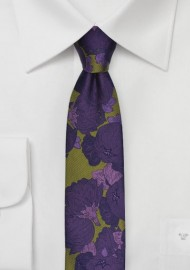 Skinny Floral Tie in Chartreuse Green and Purple